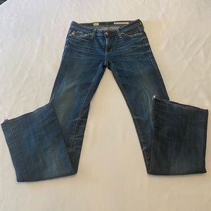 AG ADRIANO GOLDSCHMIED Distressed Boot Cut Jeans
